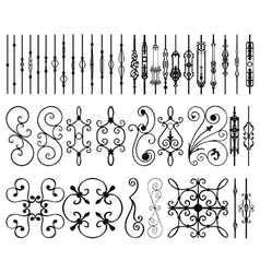 Iron railing panels and bars vector