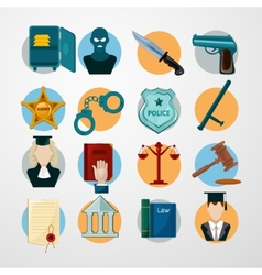 Law icons flat vector