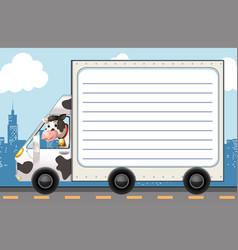 Line paper template with cow in the truck vector