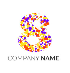 Number eight logo with purple yellow particles vector