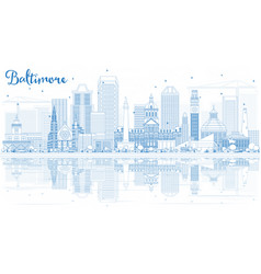 outline baltimore skyline with blue buildings and vector image vector image