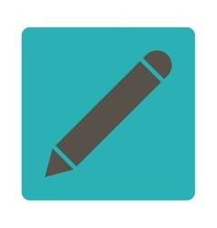 Pencil flat grey and cyan colors rounded button vector