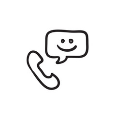 Receiver with speach square sketch icon vector