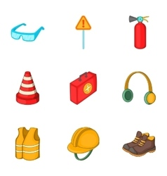 Road working equipment icons set cartoon style vector