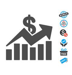 Sales bar chart trend flat icon with free bonus vector