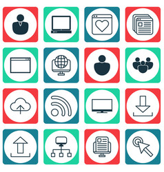 Set of 16 web icons includes login wifi account vector