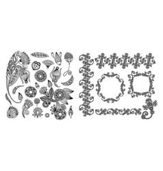 set of black line floral design elements in henna vector image