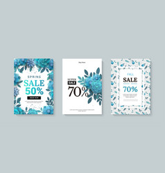 Set of sale banner with paper flowers on a white vector