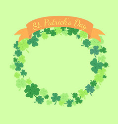 st patrick day greeting card clover wreath vector image