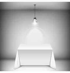 Table with tablecloth illuminated by spotlight vector