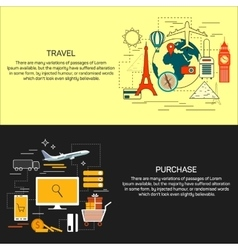 Travel and online shopping concept banners in line vector image vector image