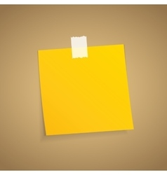 Yellow sticky note on an adhesive tape vector