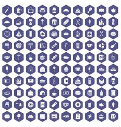 100 cafe icons hexagon purple vector