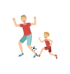 Father And Son Playing Football vector image