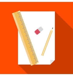 Paper pencil ruler and eraser icon vector image