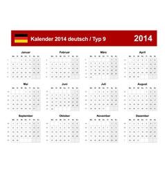 Calendar 2014 German Type 9 vector image