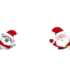 Funny santa and cat on white background vector