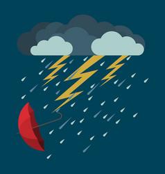 Lightning and heavy rain falling umbrella from vector