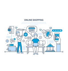 Shopping product selection payment and shipping vector