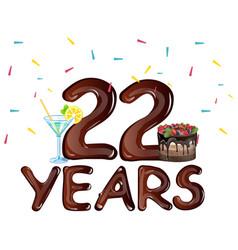 22 years anniversary celebration birthday vector