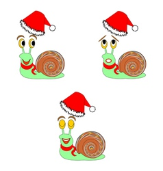 Christmas snails with different facial expressions vector