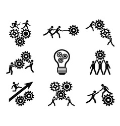 Men teamwork gears pictogram icons set vector