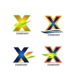 Letter x logo icon set vector