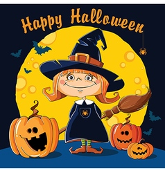 Little witch with broom vector