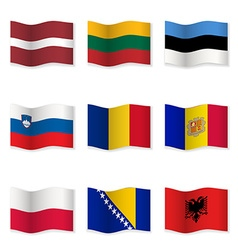 Waving flags of different countries 8 vector
