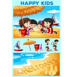 Children having fun on the beach vector