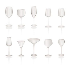 Different kind of wine glasses vector