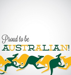 Kangaroo line australia day card in format vector