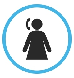 Calling woman flat rounded icon vector