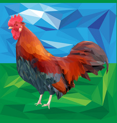 Bright colorful rooster on a landscape background vector