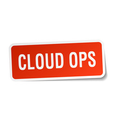 Cloud ops square sticker on white vector