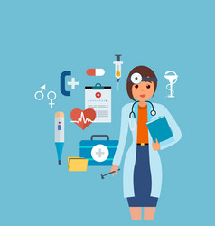 Doctor in medical gown with tools research result vector