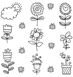 Doodle of spring theme flower leaf vector