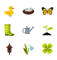 Farming icons set flat style vector