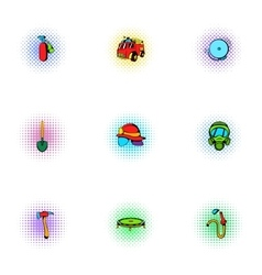 Firefighter icons set pop-art style vector image