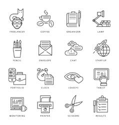 Freelance Monochrome Icon Set vector image vector image