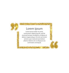 Gold quotation mark speech bubble vector