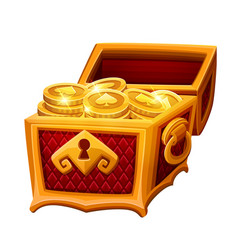 Golden chest with coins vector