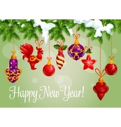 Happy New Year decorations greeting card vector image