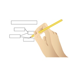 Human draw using pencil vector image