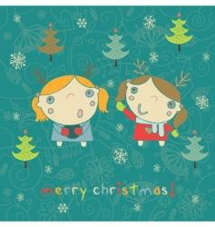 kids Christmas card vector image vector image