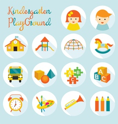 Kindergarten Preschool Objects Icons Set vector image