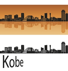 Kobe skyline in orange vector image vector image
