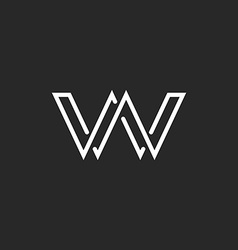 Monogram letter w logo weave thin line style vector
