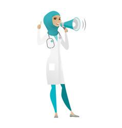 Muslim doctor talking into loudspeaker vector