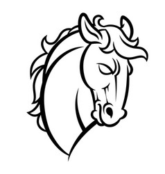 mustang stallion horse head vector image vector image